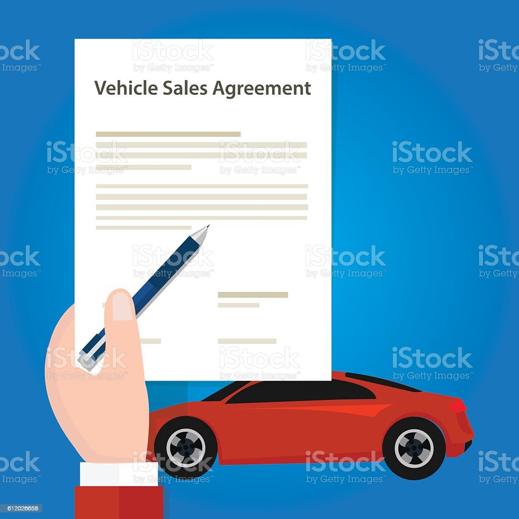 vehicle sales agreement document paper car hand holding stock vector