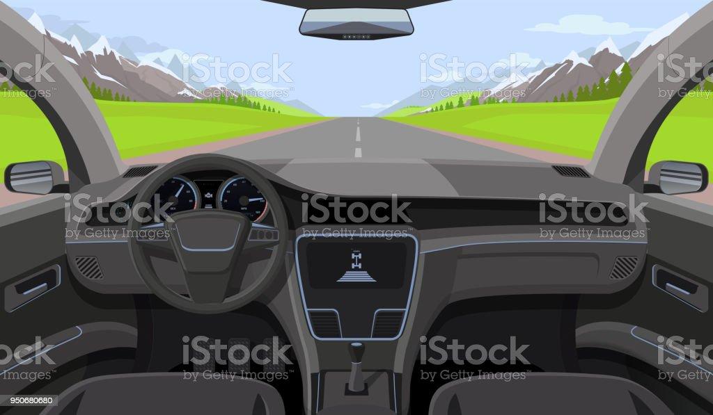 Fahrzeug-Salon, Auto Fahrer Innenansicht mit Ruder, Dashboard und Straße, Landschaft in Windschutzscheibe. Driving Simulator-Vektor-illustration – Vektorgrafik