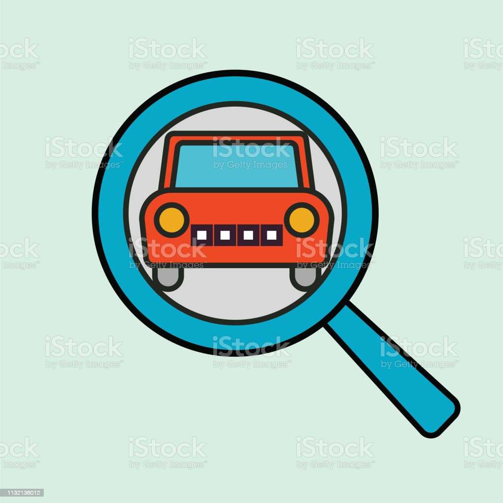 A thin line icon from a set of automotive icons. Vehicle Search.