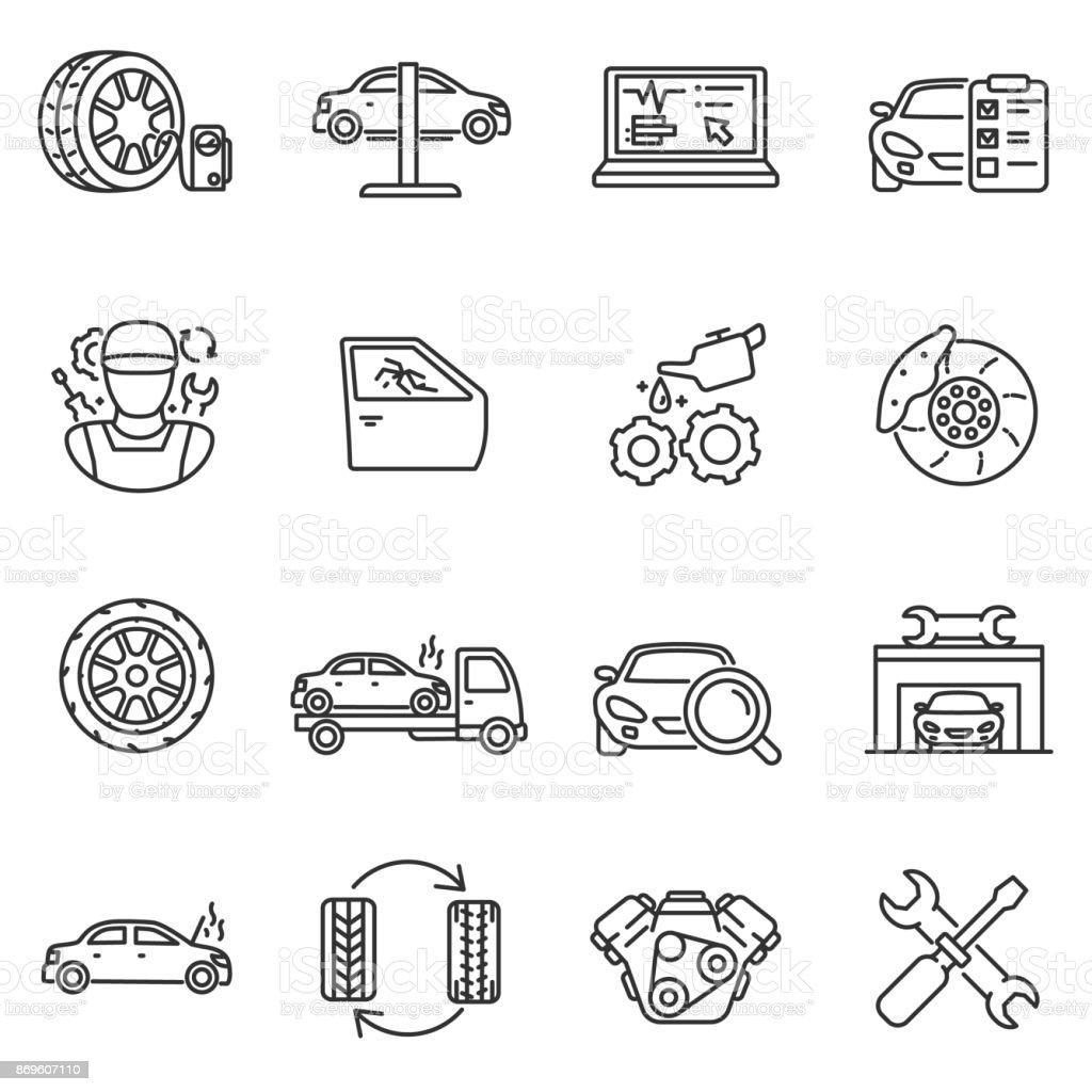 車両サービスのアイコンを設定します。編集可能なストローク ベクターアートイラスト