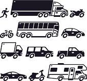Vehicle transportation symbol collection.