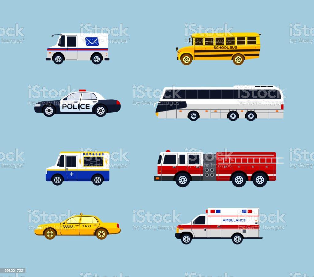 Vehicle Transportation - vector flat design icons set vector art illustration