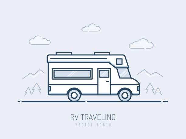 stockillustraties, clipart, cartoons en iconen met rv voertuig - caravan