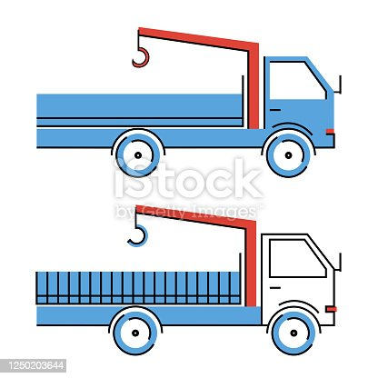 istock Vehicle with blue and white cab and red crane-manipulator system. Loading operations and transportation of cargo 1250203644