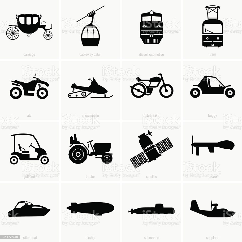 Vehicles and transportation vector art illustration