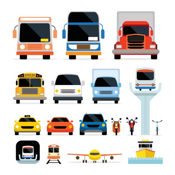 Vehicles, Cars and Transportation in Front View Mode of Transport, Public and Mass train vehicle stock illustrations