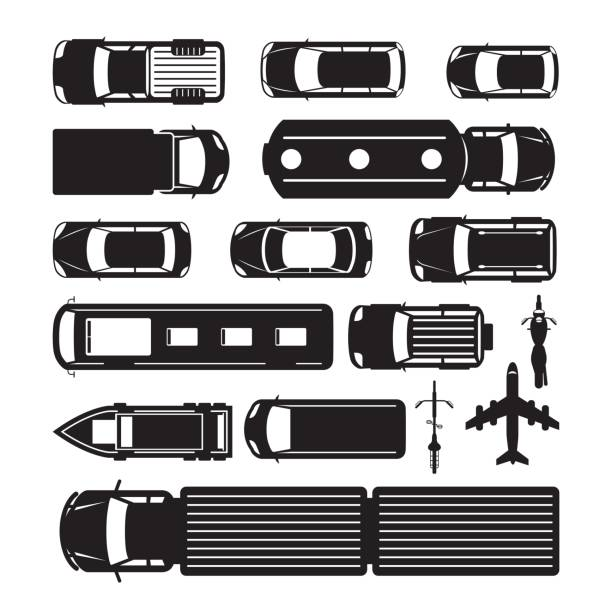 Vehicles, Cars and Transportation in Top or Above View vector art illustration