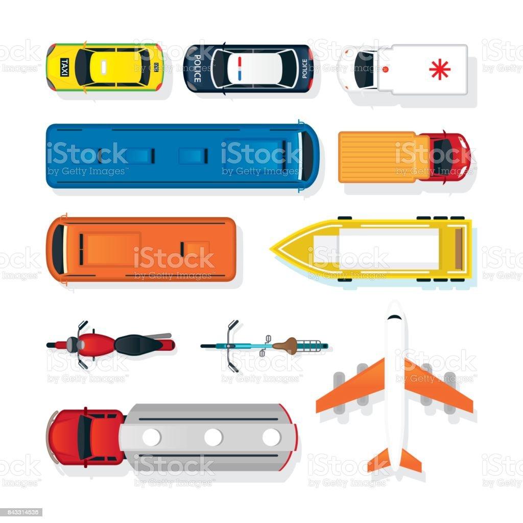 Veículos, carros e transporte na parte superior ou acima vista - ilustração de arte em vetor