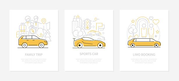 Vehicles concept - line design style banners set