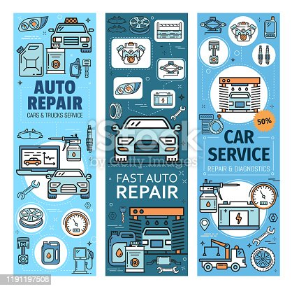 Auto repair, car and truck services linear icons. Vector fast vehicles computer diagnostics and maintenance, wash and oil change. Tire fitting, and petrol station, evacuation and taxi, spare parts