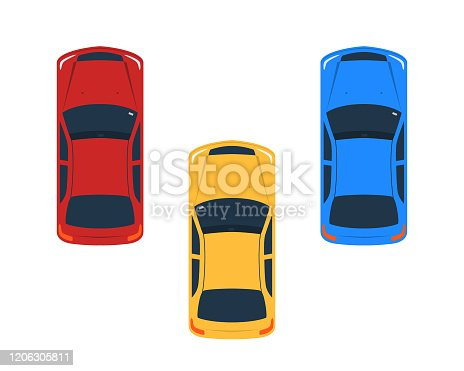 Vehicles facing one direction vector illustration