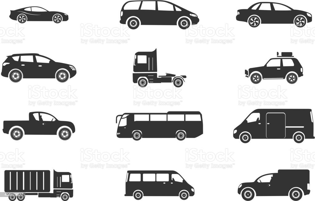 Vehicles Icon Set vector art illustration