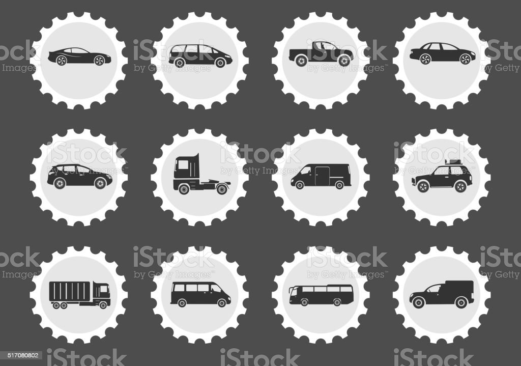 Vehicles Icon Set vector art illustration