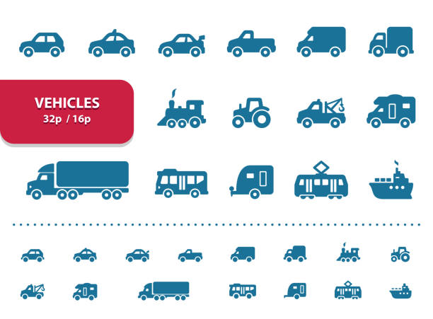 Vehicles Icons (2x magnification for preview) Professional, pixel perfect icons, EPS 10 format, optimized for 32p and 16p (2x magnification for preview). motor home stock illustrations