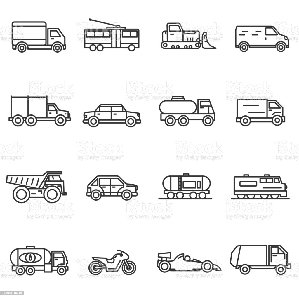 Vehicles, line icons set. vector art illustration