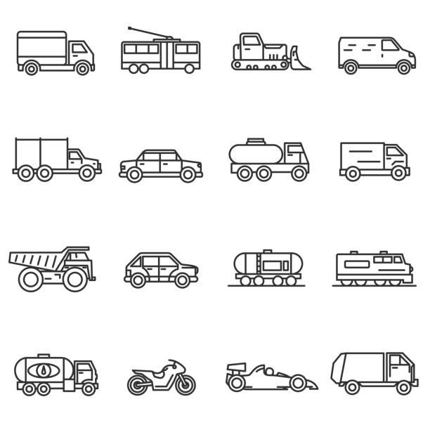 차량, 선 아이콘 설정합니다. - 기차 실루엣 stock illustrations