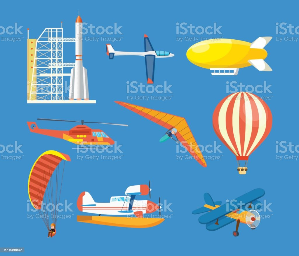 Vehicles: missile, hang-glider, helicopter, airship, balloon, paraglider, biplane, glider, aircraft vector art illustration