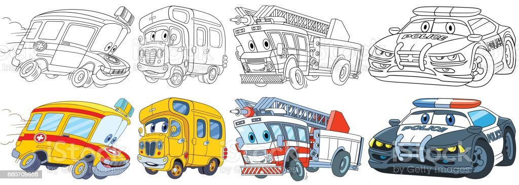vehicles of rescue services set