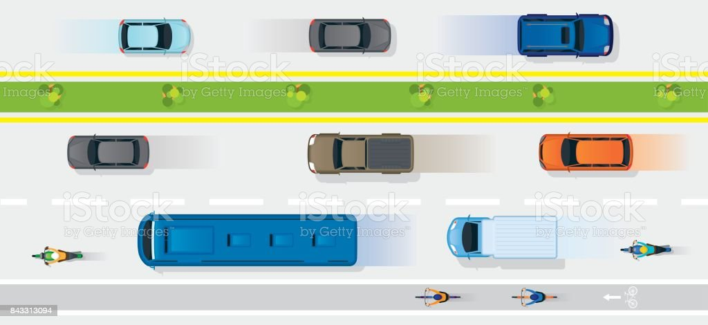 Vehicles on Road with Bike Lane vector art illustration