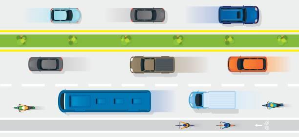 ilustrações de stock, clip art, desenhos animados e ícones de vehicles on road with bike lane - carro na rua