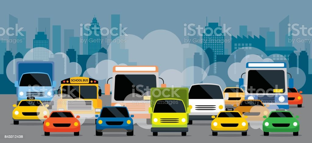 Vehicles on Road with Traffic Jam Pollution vector art illustration