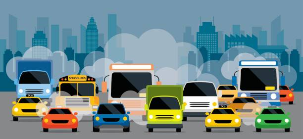 vehicles on road with traffic jam pollution - traffic stock illustrations