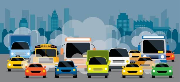 交通道路上的車輛堵塞污染 - traffic 幅插畫檔、美工圖案、卡通及圖標