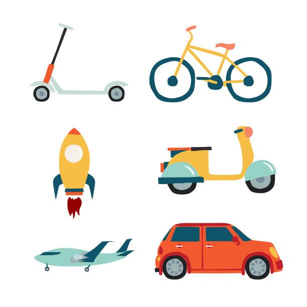 stockillustraties, clipart, cartoons en iconen met voertuigen instellen collectie: scooter, auto, fiets, motorfiets, raket, vliegtuig. - step