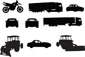 Vector vehicles shape: motorcycle, truck, sport car, tractor.