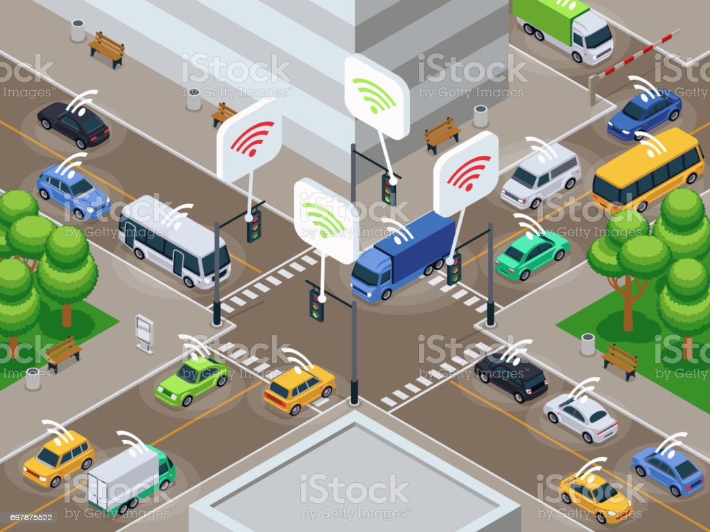 Vehicles with infrared sensor device. Unmanned smart cars in city traffic vector illustration vector art illustration