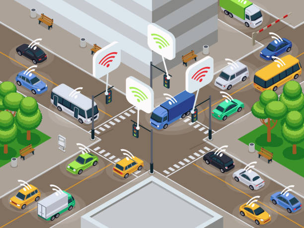 與紅外感應器設備的車輛。在城市交通中的無人駕駛智慧汽車向量圖 - traffic 幅插畫檔、美工圖案、卡通及圖標