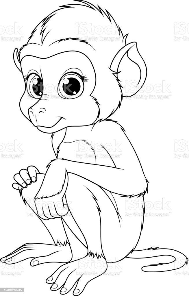 Ilustración de Ilustración De Vektor Babuino Mono Lindo Divertido Se ...