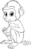 Vektor illustration, funny cute monkey baboon, sits smiling, on white background