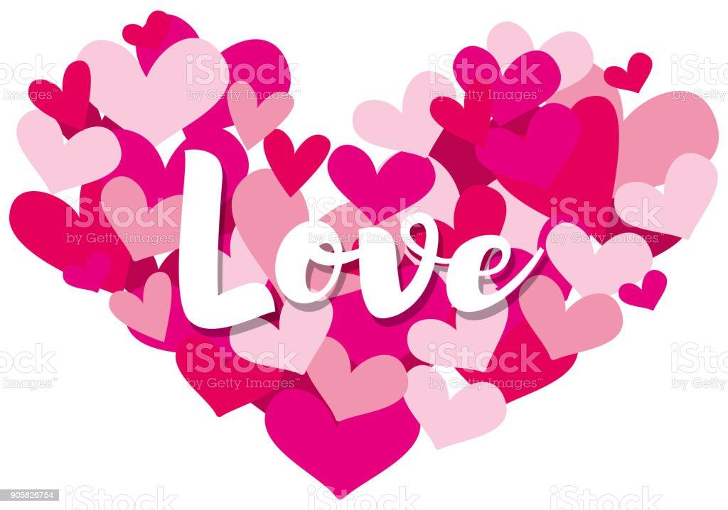 ヴァレンタイン カード テンプレート word と愛のハートの形に