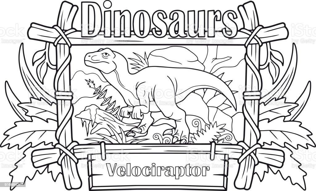 Ilustración de Velociraptor Libro Para Colorear y más banco de ...
