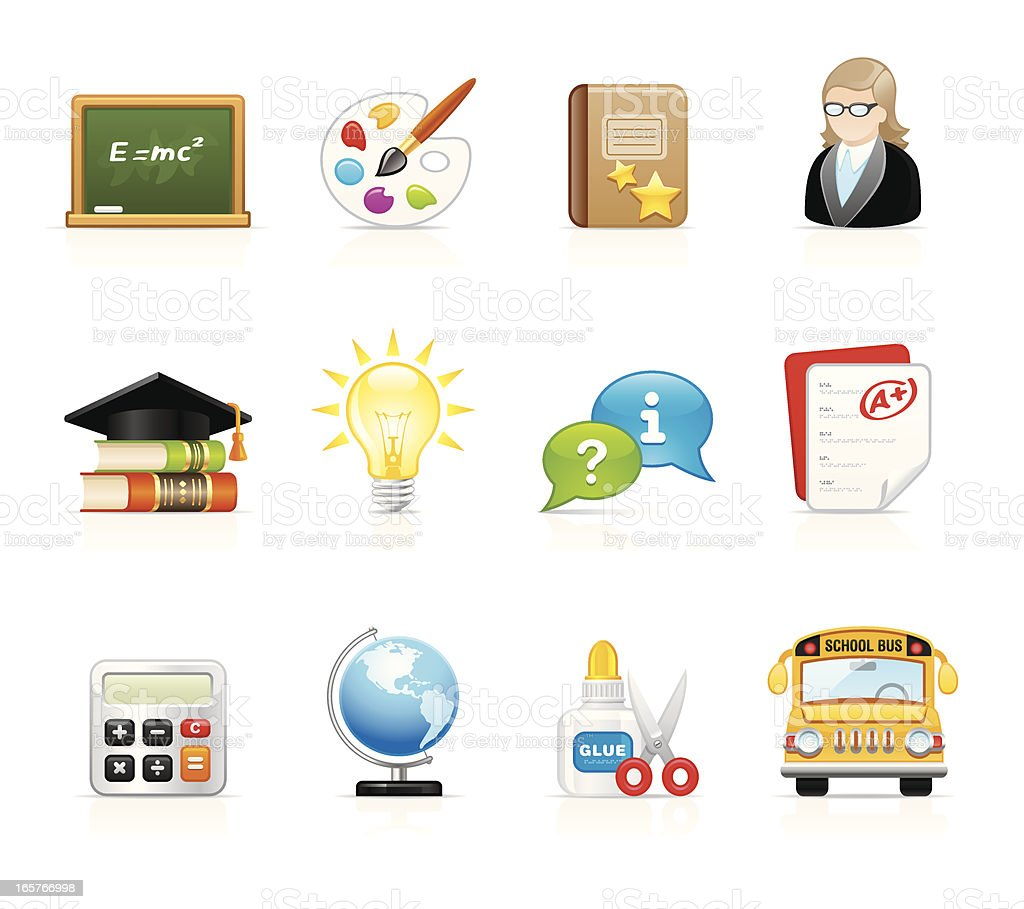 Velvet Icons - Education and School vector art illustration
