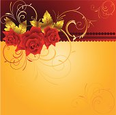 Congratulatory background with velvet roses and gold pattern.