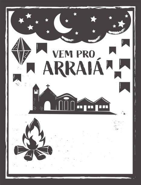 stockillustraties, clipart, cartoons en iconen met arraia pro betekent laten we gaan naar arraia. arraia is traditioneel juni feest in brazilië - houtgravure
