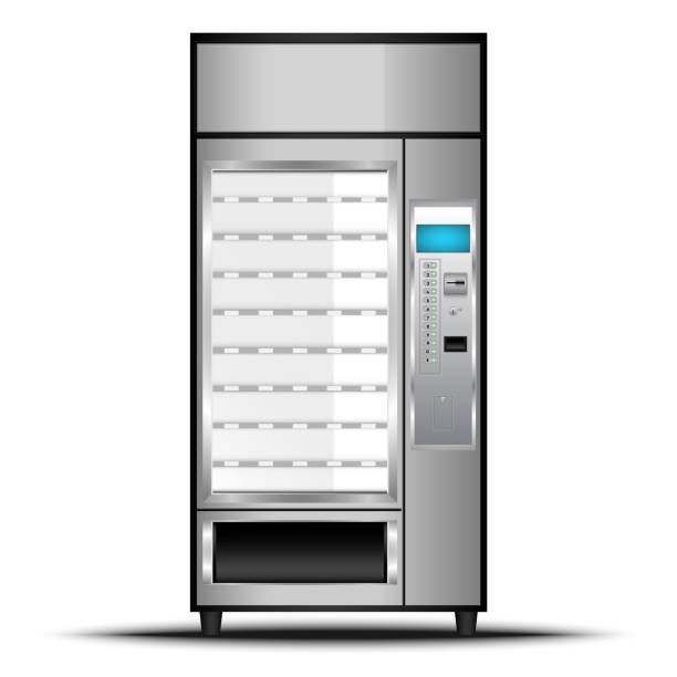 vending machine of food and beverage automatic selling., vector, illustration - empty vending machine stock illustrations