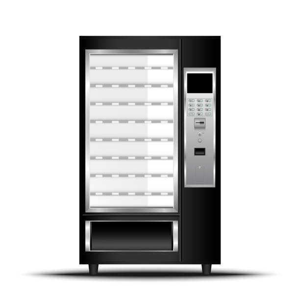 vending machine of food and beverage automatic selling, vector, illustration - empty vending machine stock illustrations