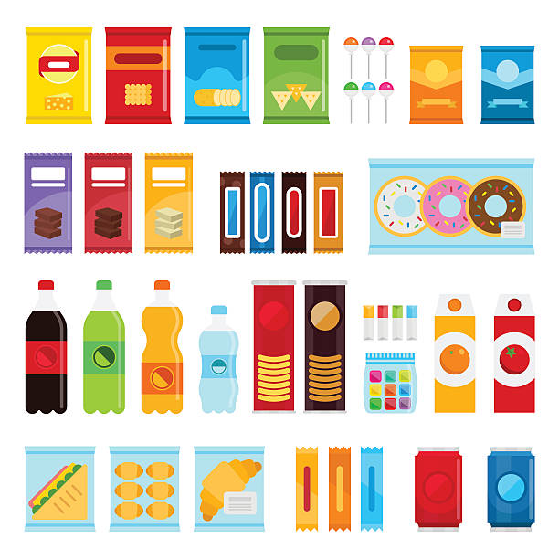 Vending machine product items set. Vending machine product items set. Vector flat illustration. Food and drinks design elements isolated on white background. Fast food snacks and drinks flat icons. Snack pack set stock vector design candy icons stock illustrations