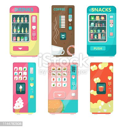 Automatic vending machine set with food and beverages vector flat isolated illustration. Cold soft drinks, snacks, fast food, ice cream, coffee, popcorn retail.