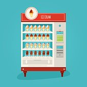 Modern vector illustration of vending machine advertisement poster with chocolate and vanilla ice cream