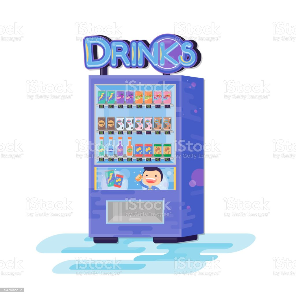 Vending Machine With Drinks Vector Flat Cartoon Illustration Stock ...