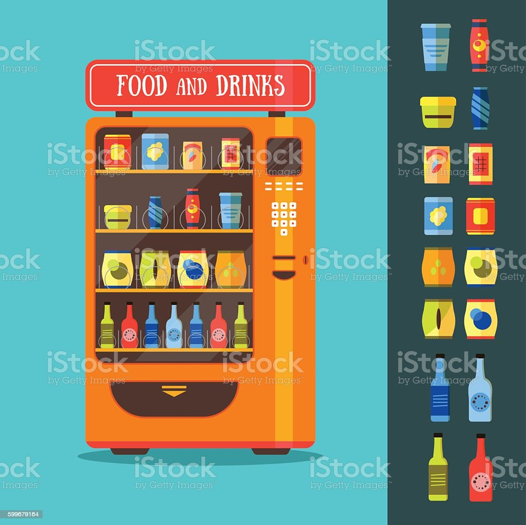 Vending Machine with Food and Drink Packaging Set. Vector vector art illustration