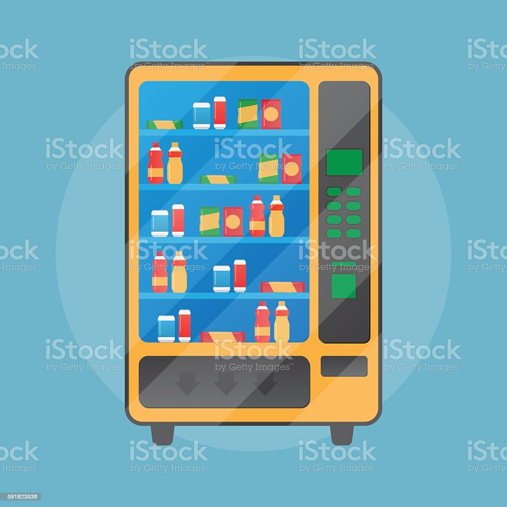 Vending Machine With Snacks And Drinks stock vector art 591823536 ...