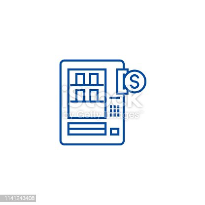 Vending machines line concept icon. Vending machines flat  vector website sign, outline symbol, illustration.