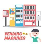 Vending Machines, Vector Illustration. Flat Design Elements.