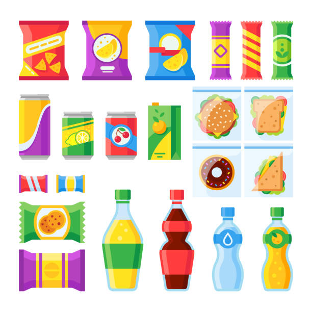 ilustrações de stock, clip art, desenhos animados e ícones de vending products. snacks, chips, sandwich and drinks for vendor machine bar. cold beverages and snack in plastic package vector icons - packaging