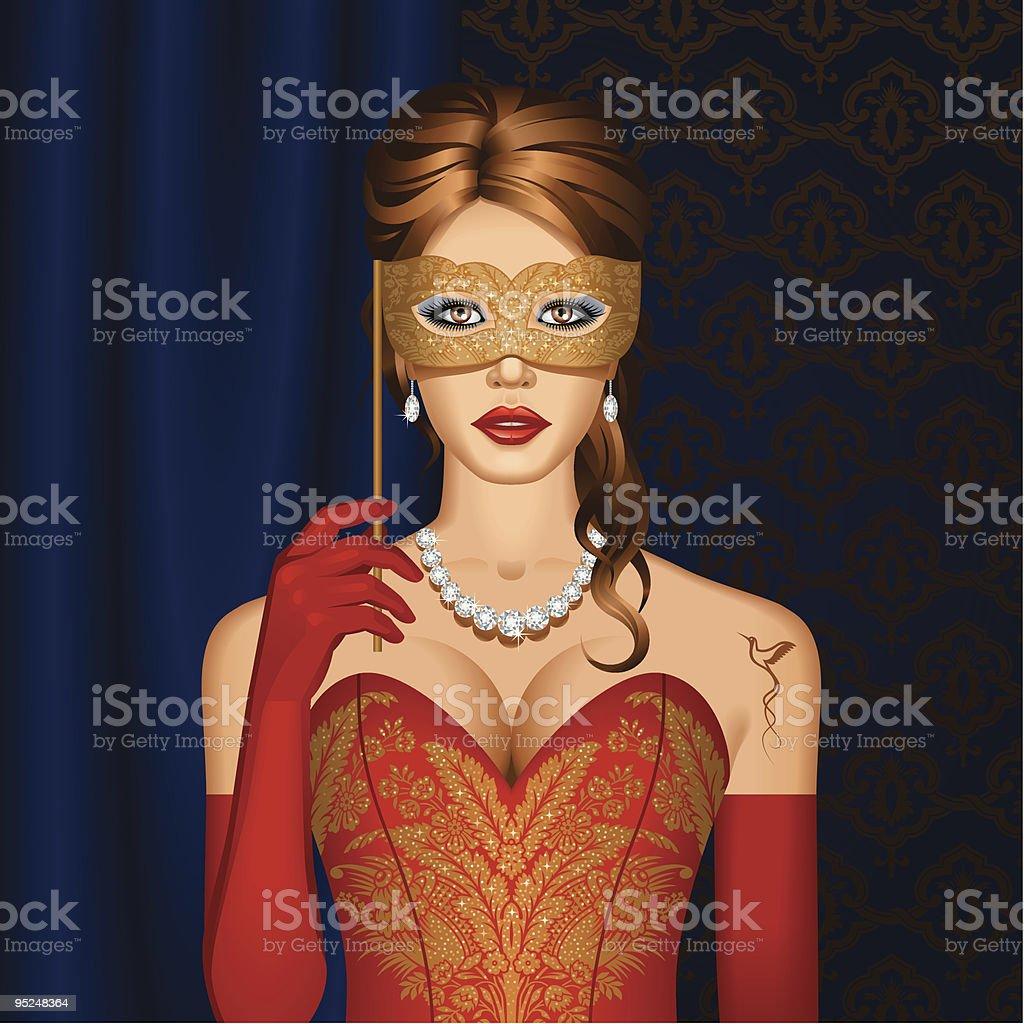 Venetian Schönheit in einer Maske – Vektorgrafik